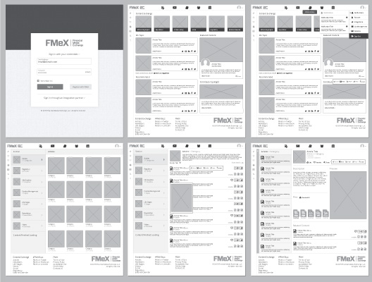 Wireframes were an essential part in the ux/ui development of FMeX. We started with the wireframes, displaying all the content and data without any real Interface development to make sure we are designing the correct layout, interactions and user flow.